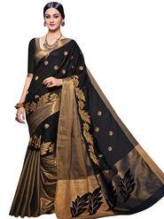 Viva N Diva Embellished Kota Silk Black & Gold Saree -19167-Aangi