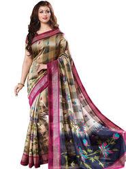 Viva N Diva Printed Bhagalpuri Beige Saree -19177-Aangi