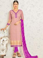 Viva N Diva Embroidered Banarasi Jacquard Beige Unstitched Dress Material -19188-Jivika