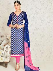 Viva N Diva Embroidered Banarasi Jacquard Blue Unstitched Dress Material -19190-Jivika
