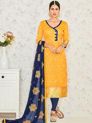 Viva N Diva Embroidered Banarasi Jacquard Yellow Unstitched Dress Material -19194-Jivika