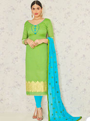 Viva N Diva Embroidered Banarasi Jacquard Green Unstitched Dress Material -19197-Jivika