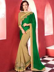 Indian Women Embroidered Satin Chiffon Green and Beige Designer Saree -GA20341