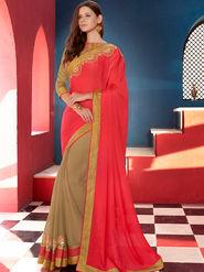 Indian Women Embroidered Satin Chiffon Orange and Beige Designer Saree -GA20354