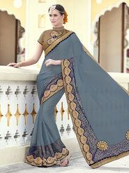 Indian Women Embroidered Chiffon Gray Designer Saree -RA21065