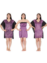 Set of 3 Klamotten Printed Satin Nightwear-231P6-