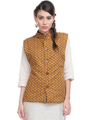 Lavennder Yellow Khadi Sleeveless Women Nehru Jacket - 623414