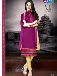 Adah Fashions Embroidered  Cotton Satin Semi-Stitched Suit 755-115