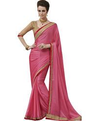 Styles Closet Embroidered  Chiffon  Pink Saree -Bnd-8005