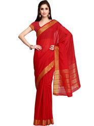 Admyrin Printed Chanderi Red Saree -Snh3-10064