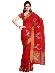 Red Chanderi Zari Work Saree with Blouse Piece_ADM-SR-SNH3-10079