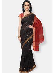 Admyrin Printed Cotton Black & Red Saree -Snh6-10143