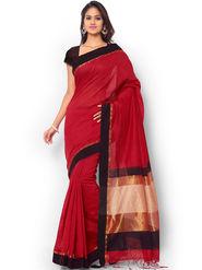 Admyrin Printed Chanderi Cotton Red Saree -Snh8-10174