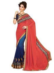 Khushali Fashion Embroidered Georgette Half & Half Saree(Blue,Gajari)_ASFPVA350