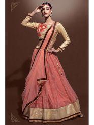 Peach Net Lehenga with Embroidered Choli and Net Dupatta_AY-LH-SWR-10001