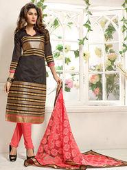 Adah Fashions Chanderi Embroidered Semi Stitched Salwar Kameez - Black & Golden - 639-7008