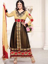 Adah Fashions Georgette Embroidered Anarkali Suit - Mustard & Black - 658-1001