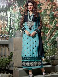 Adah Fashions Georgette Embroidered A-Line Salwar Suit - Black & Sea Blue - 671-8001