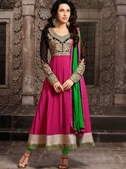 Adah Fashions Georgette Embroidered Semi Stitched Suit - Pink - 679-10009
