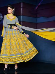 Adah Fashions Pure Georgette Embroidered Semi Stitched Anarkali Dress Material - Grey & Yellow_635-1103