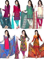 Aarna Set Of 7 American Crepe Printed Dress Material - By Adah Fashions