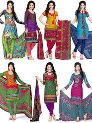 Libas Set Of 7 American Crepe Printed Dress Material - By Adah Fashions