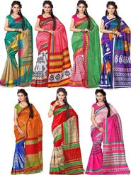 Combo of 7 Adah Fashions Art Silk Printed Sarees
