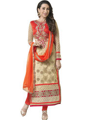 Adah Fashions Faux Georgette Embroidered Semi Stitched Designer Suit - Beige