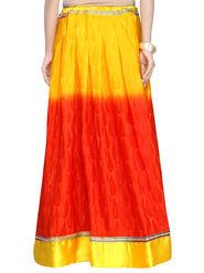 Admyrin Crepe Jacquard Printed Skirt - Yellow and Orange - AY-SKI-RG6-613