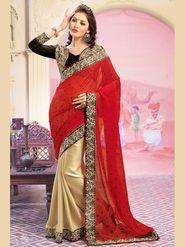 Admyrin Georgette+Shimmer Printed Saree - Red+Golden - 8002