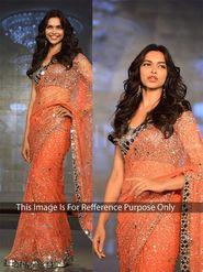 Arisha Net Embroidered Saree - Orange - 390