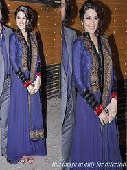 Arisha Georgette Embroidered Semi-Stitched Anarkali Suit - Purple - 501