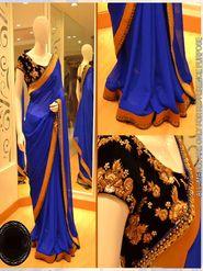 Arisha Georgette Embroidered Saree - Blue - 5325