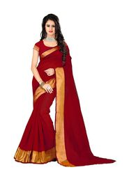 Bhuwal Fashion Plain Polycotton Red Designer Saree -bhl08
