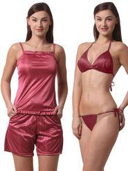 Set Of 4 Being Fab Satin Lycra Solid Nightwear -fbl26