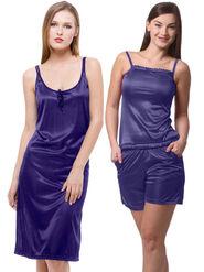 Set Of 3 Being Fab Satin Lycra Solid Nightwear -fbl17