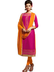 Styles Closet Embroidered Pure Cotton Unstitched Pink Dress Material -Bnd-5002