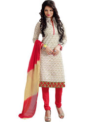 Styles Closet Embroidered Chanderi Cream Unstitched Dress Material -Bnd-5250