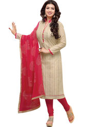 Styles Closet Embroidered Chanderi Cream Unstitched Dress Material -Bnd-5253