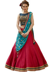 Styles Closet Embroidery Banglori Silk Pink Lehenga - BND-7021