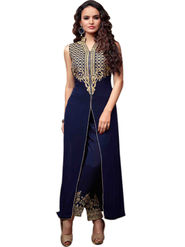 Styles Closet Embroidered Georgette Semi-Stitched Blue Suit -Bnd-B2204