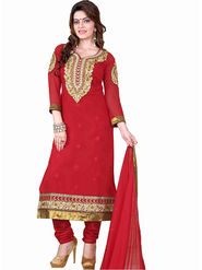 Styles Closet Embroidered Georgette Red Semi-Stitched Suit -Bnd-S1020