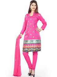 Styles Closet Embroidered Cotton Semi-Stitched Pink Suit -Bnd-Taj Mahal2 Pink