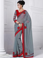 Bahubali Georgette Embroidered Saree - Grey - GA.50221