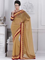 Bahubali Chiffon Embroidered Saree - Beige - GA.50226