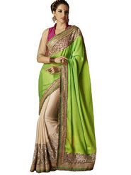 Bahubali Chiffon Embroidery Saree - Green_HT.52221