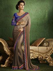 Bahubali Crepe Jacquard Embroidered Saree - Brown - RA.10212