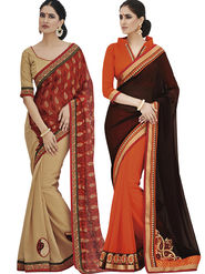 Pack of 2 Bahubali Embroidered Saree - CMB028