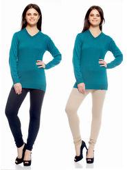 Combo of 2 Arisha Woolen Solid Legging -CMBB09