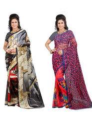 Combo of 2 Arisha Georgette Printed Saree -CMBS13